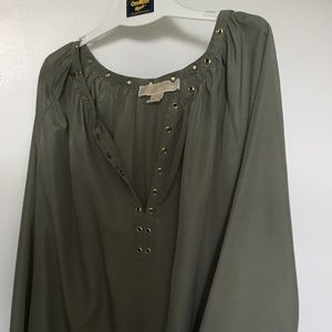 Michael Kors Olive Tunic with Gold Accents